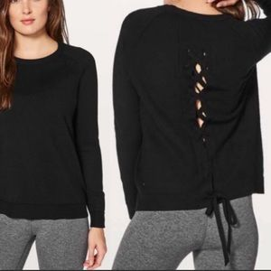 Lululemon Tied to You lace up sweater in black
